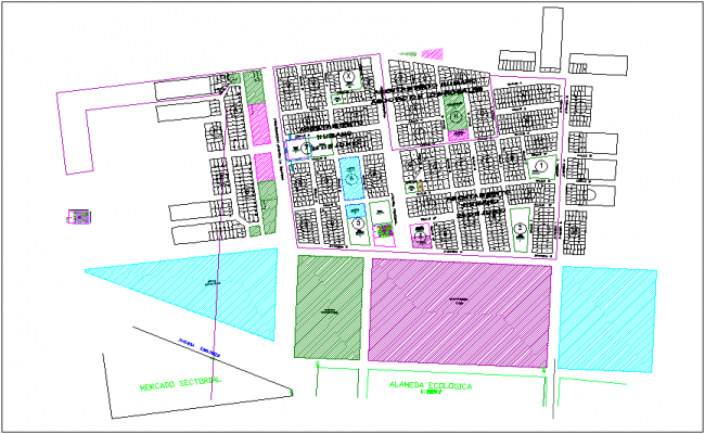 Parametric location with main street of education area dwg file