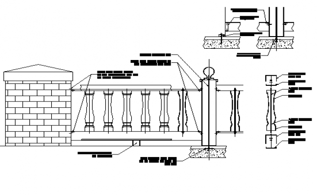 Parapet Reeling elevation and section detail dwg file
