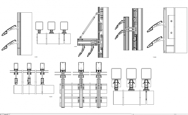 Parasol sectional detail in autocad dwg files