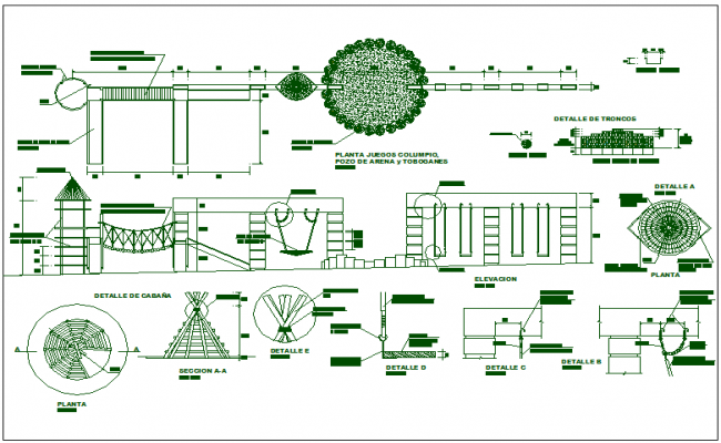 Park garden equipment detail view dwg file