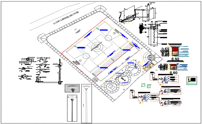 Park garden plan view detail and equipment detail view dwg file