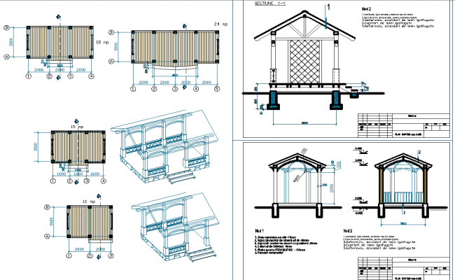 Park garden roof shade and seating arrangements structure plan elevation detail view dwg file