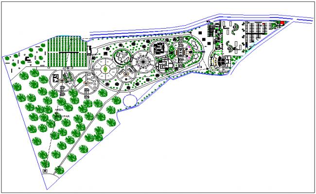 Park garden site plan layout view detail dwg file