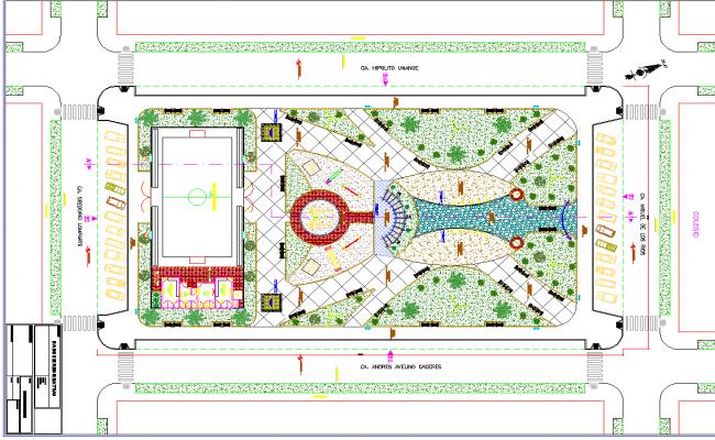 Park site plan layout view detail dwg file
