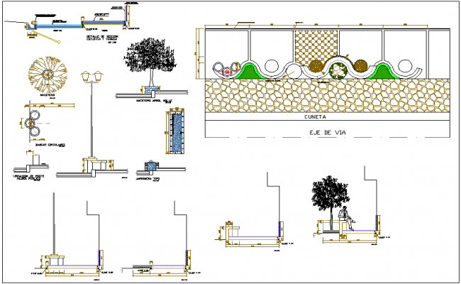 Park view with different garden block detail dwg file