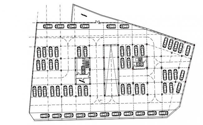 Parking Floor Plan In AutoCAD File
