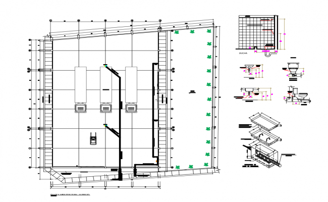 Parking area layout plan and sanitary installation details of office building dwg file