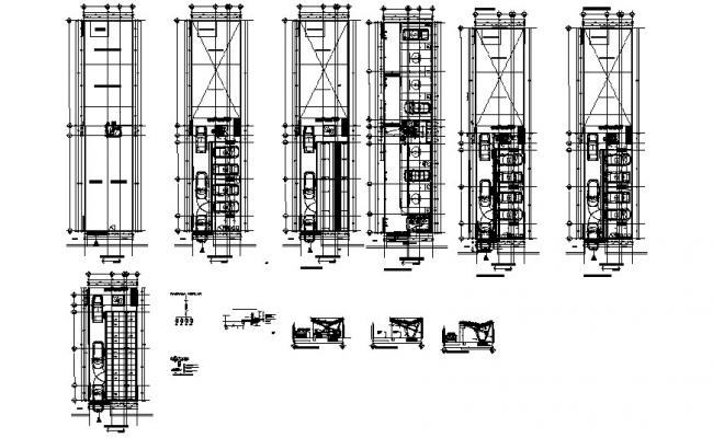 Parking layout design with elevation in dwg file