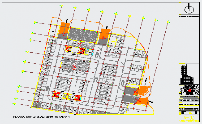 Parking layout of office building design drawing