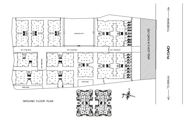 Parking layout plan and ground floor plan details of housing flats building dwg file