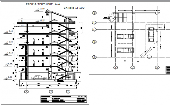 Parking lot and departmental office sectional details dwg file