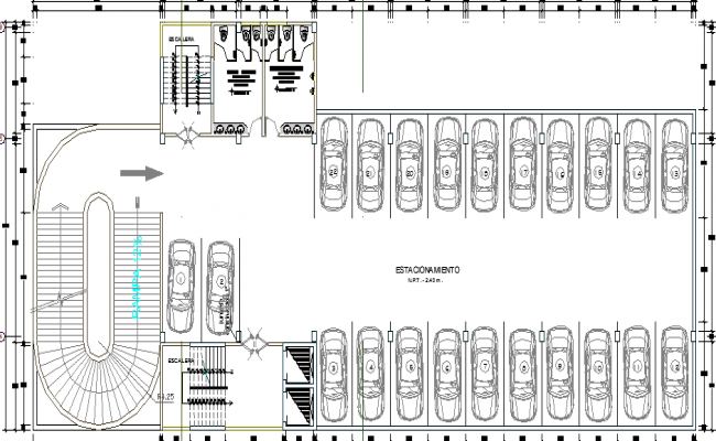 parking lot detailing of corporate building dwg file
