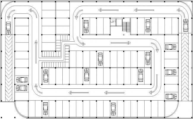 Parking plan detail dwg file
