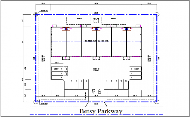 Parking plan layout detail dwg file