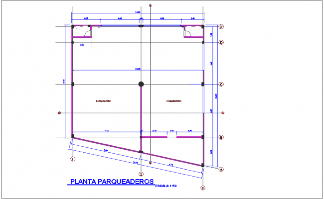 Parking plant for corporate building dwg file