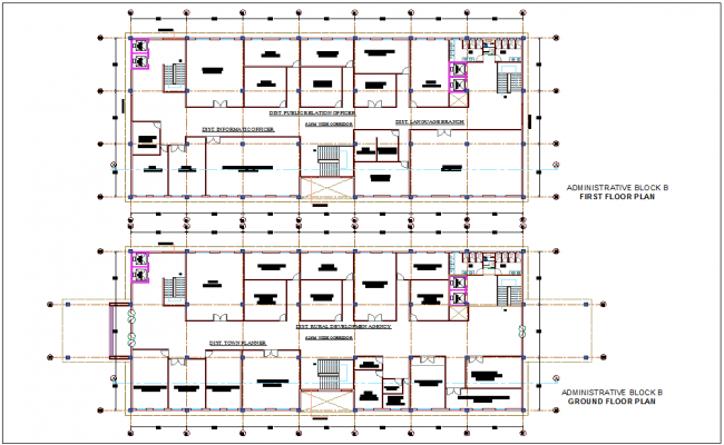 Part of corporate world ground floor and first floor plan for administrative block B dwg file