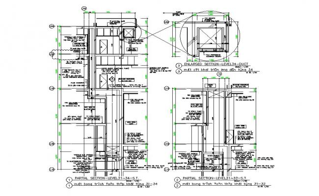 Partial constructive sectional details of multi-story building dwg file
