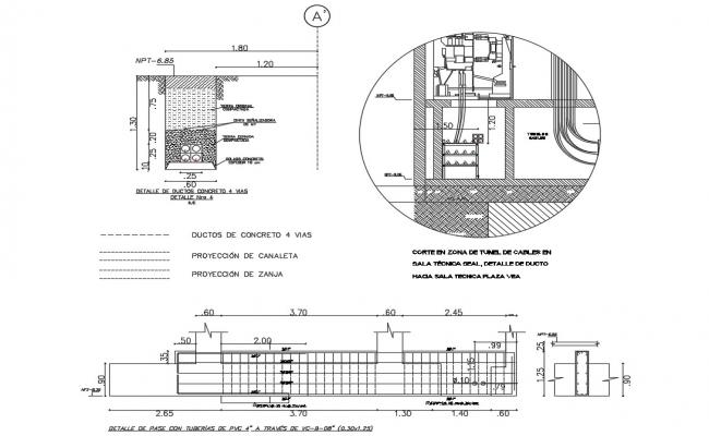 Pass detailed with pvc pipes through cable cad drawing details dwg file