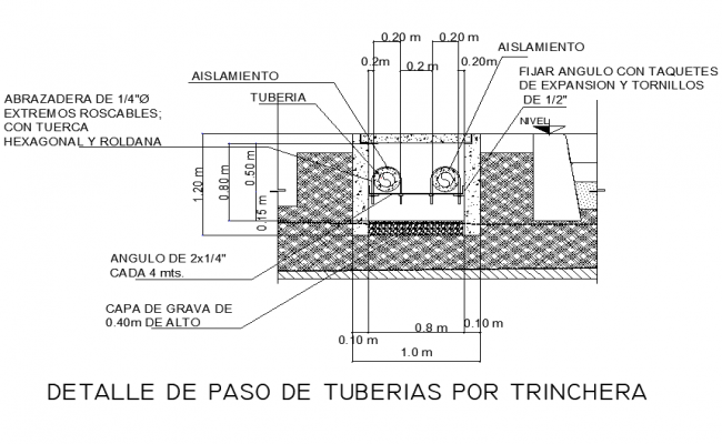 Passage of pipe through the trench detail dwg file