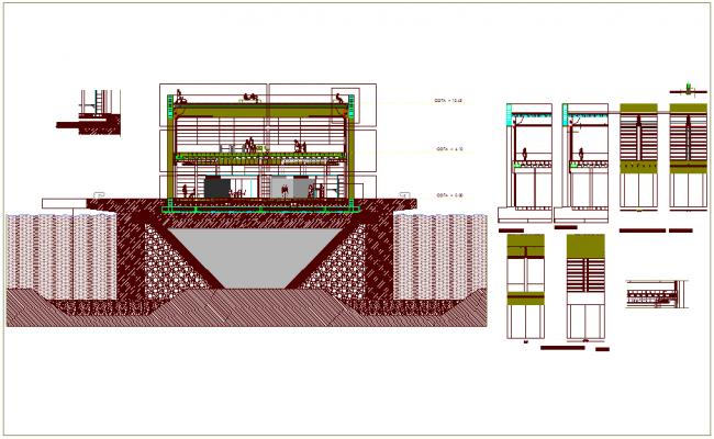 Passenger shipment door design view with construction detail dwg file