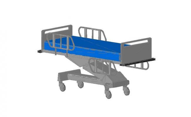 Patient adjustable bed 3d block cad drawing details dwg file