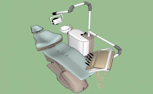 Patient chair of clinic 3d model cad drawing details skp file