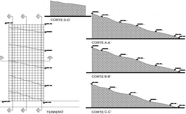 Pavement plan and section drawings 2d view dwg file