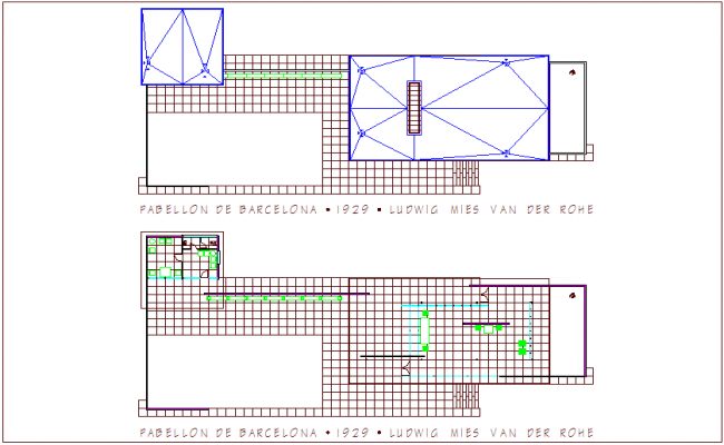 Pavilion of Barcelona floor plan with architectural view dwg file