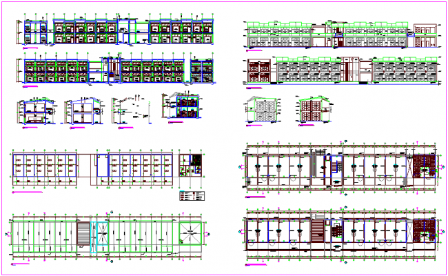 Pavilion view with collage plan and elevation view with water system,florescent equipment and beam view plan dwg file