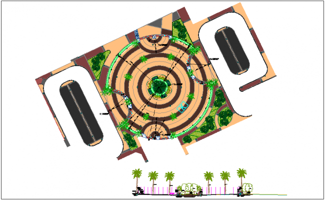 Paving design of typical plaza dwg file