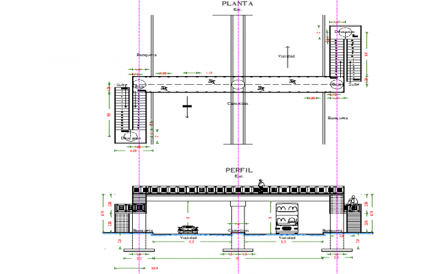 Peatonal bridge plan and section detail dwg file