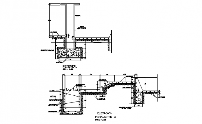 Pedestal section detail and elevation detail dwg file
