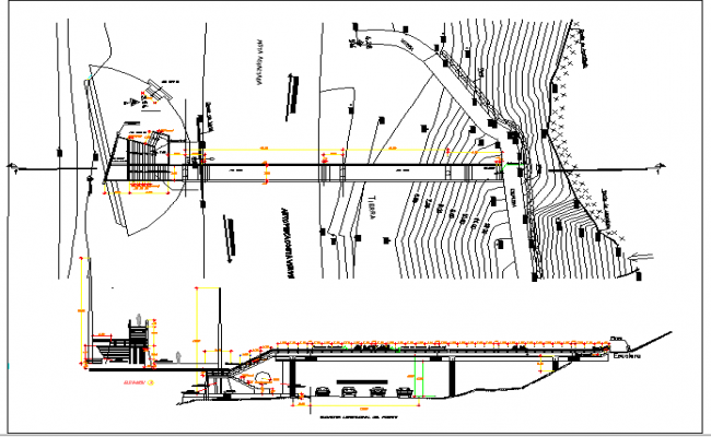 Pedestrian Bridge Architecture Design and Elevation Plan dwg file