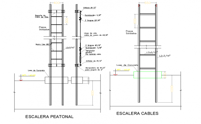 Pedestrian ladder plan dwg file