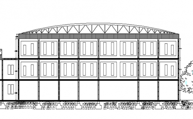 Pediatric Hospital Three Story Design and Elevation dwg file