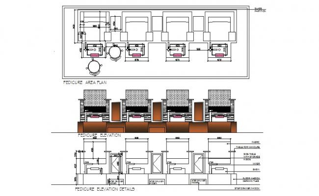 Pedicure area of salon cad drawing details dwg file