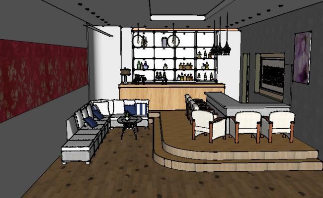 Penaro bar layout plan, furniture layout and 3d interior details skp file
