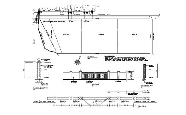Perimeter fence and gate elevation, section, plan and structure details dwg file