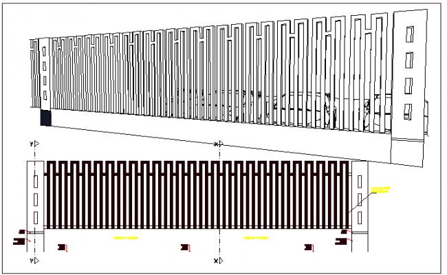 Perimeter fence architecture details of public garden dwg file