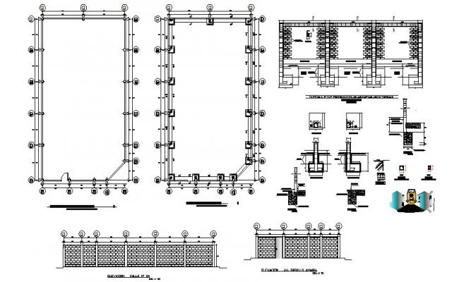 Perimeter fence elevation, section, plan and construction details dwg file