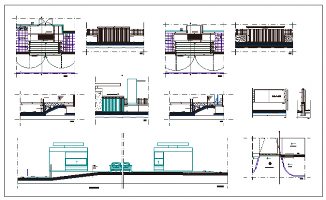 Perimeter fence of house garden installation details dwg file