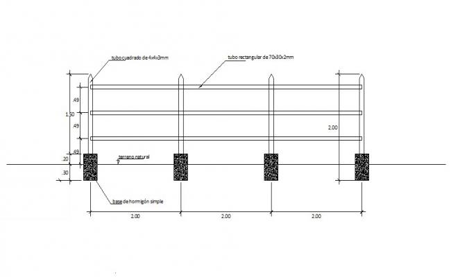 Perimeter fence section cad drawing details dwg file