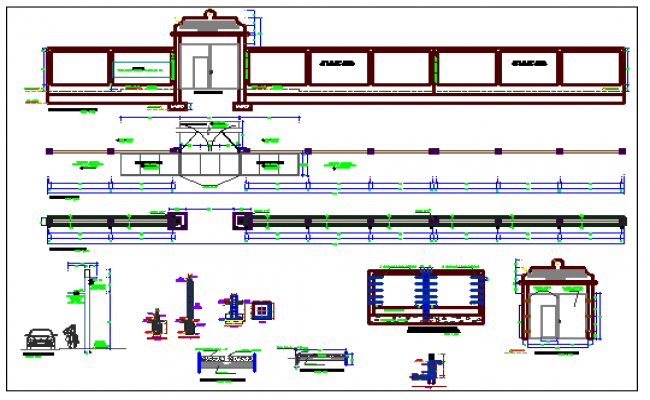 Perimeter fence with gate of garden dwg file