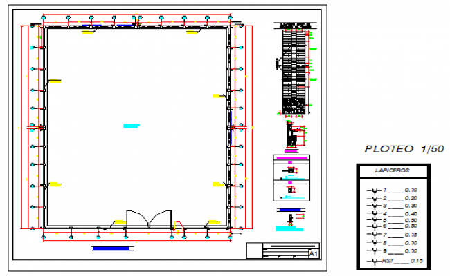 Perimeter wall 400mm height design drawing land with out wall