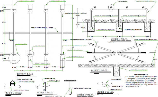 Perogola sectional detail dwg file