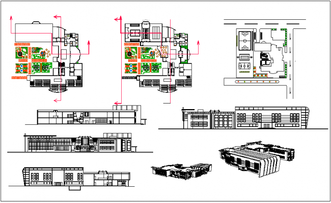 Plan Elevation And Isometric View : Perspective and isometric view with plan elevation of