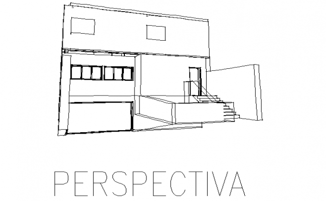 Perspective elevation of a house dwg file