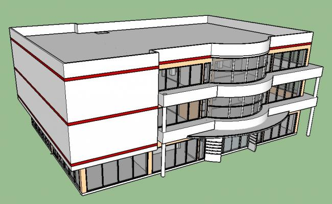 Perspective plan details of multi-level 3d hotel building skp file