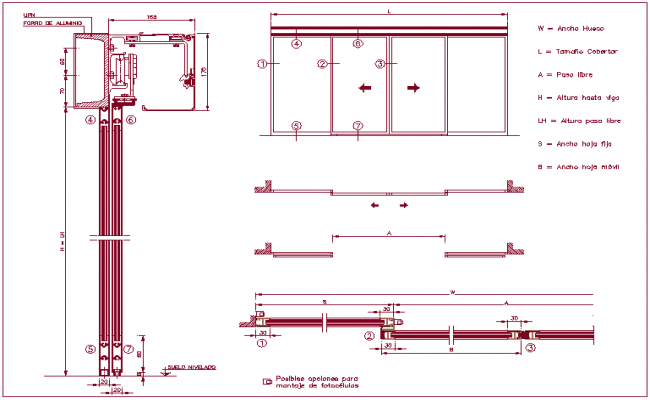 Photo cell assembly view with sliding door sectional view dwg file