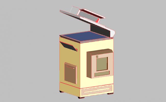 Photocopy machine 3d machine dwg file